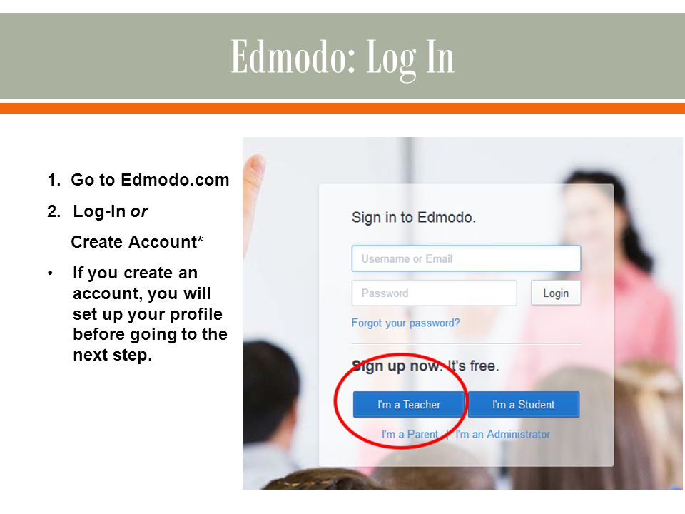 1. Go to Edmodo.com 2.Log-In or Create Account* If you create an account, you will set up your profile before going to the next step.