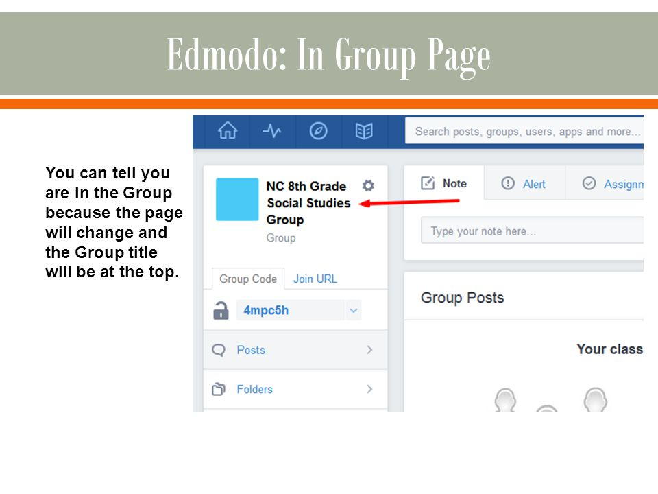 You can tell you are in the Group because the page will change and the Group title will be at the top.