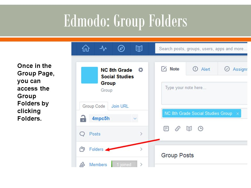 Once in the Group Page, you can access the Group Folders by clicking Folders.