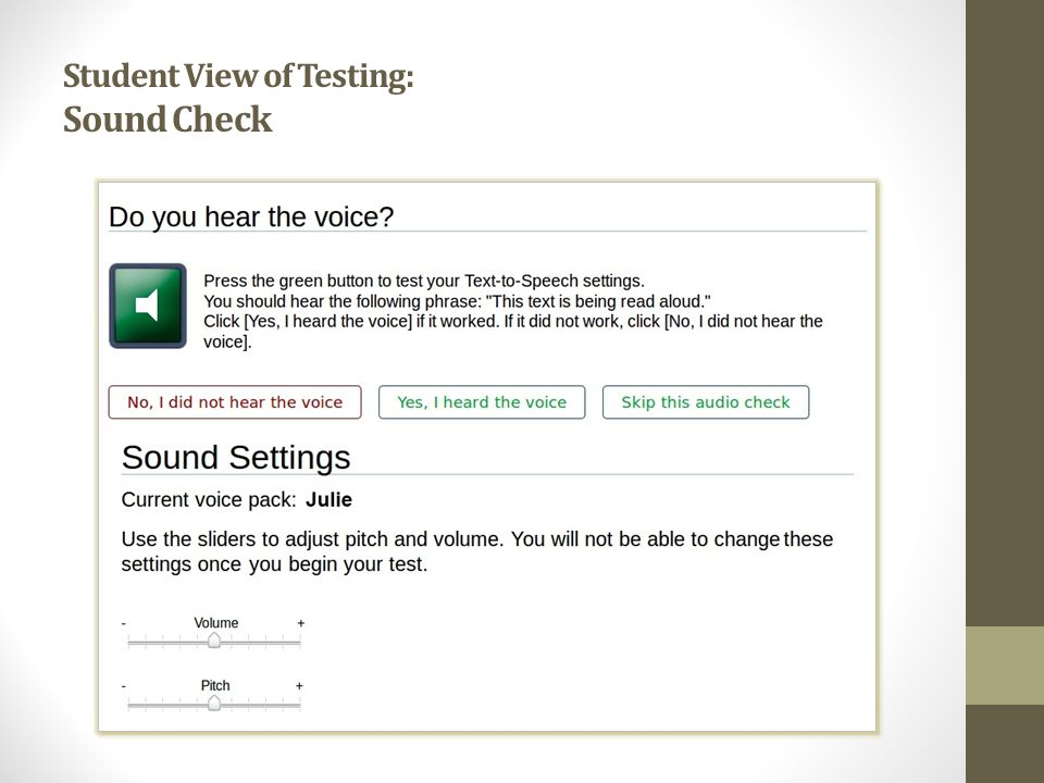 Student View of Testing: Sound Check
