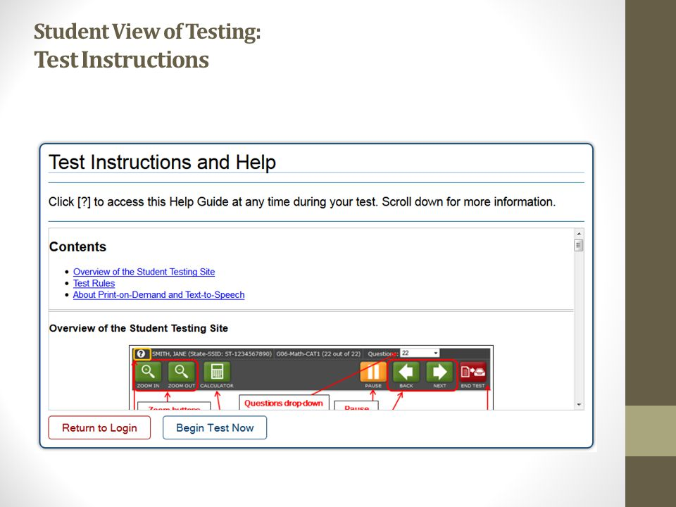 Student View of Testing: Test Instructions