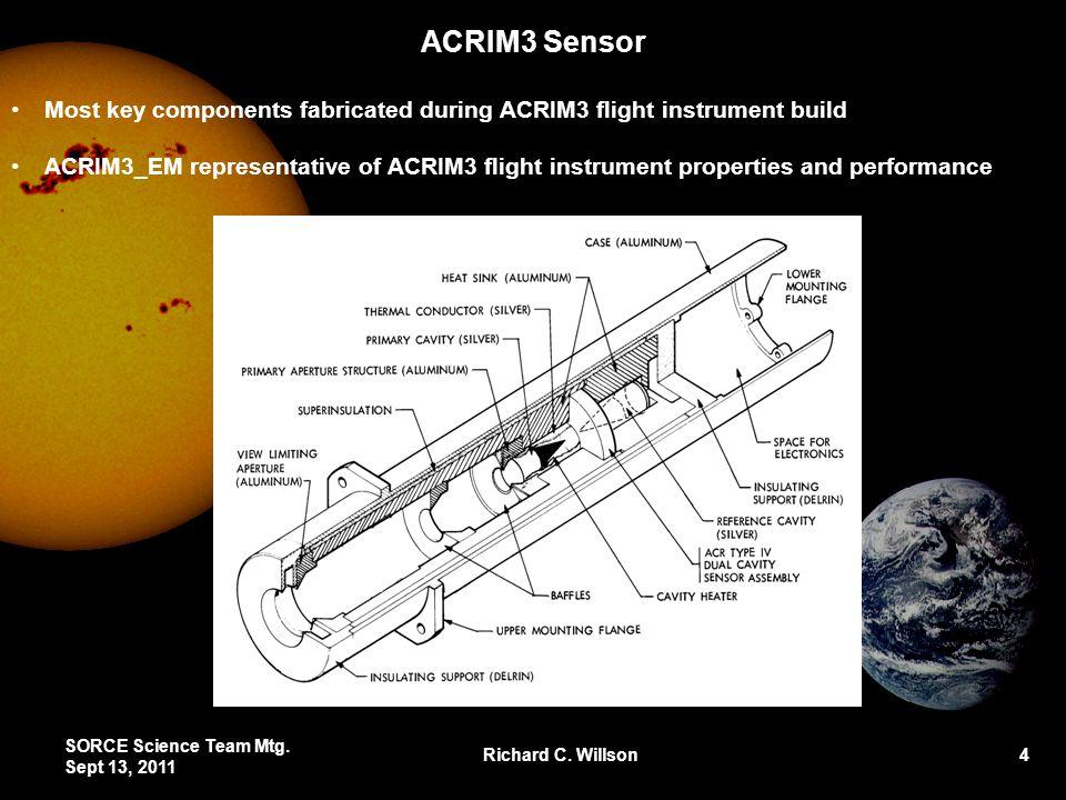 ACRIM3 Sensor SORCE Science Team Mtg. Sept 13, 2011 Richard C. Willson 4 Most key components fabricated during ACRIM3 flight instrument build ACRIM3_E