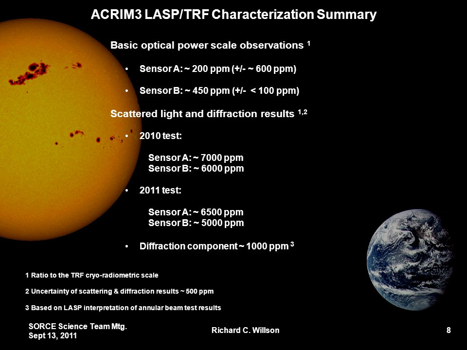 ACRIM3 LASP/TRF Characterization Summary Basic optical power scale observations 1 Sensor A: ~ 200 ppm (+/- ~ 600 ppm) Sensor B: ~ 450 ppm (+/- < 100 ppm) Scattered light and diffraction results 1,2 2010 test: Sensor A: ~ 7000 ppm Sensor B: ~ 6000 ppm 2011 test: Sensor A: ~ 6500 ppm Sensor B: ~ 5000 ppm Diffraction component ~ 1000 ppm 3 SORCE Science Team Mtg.