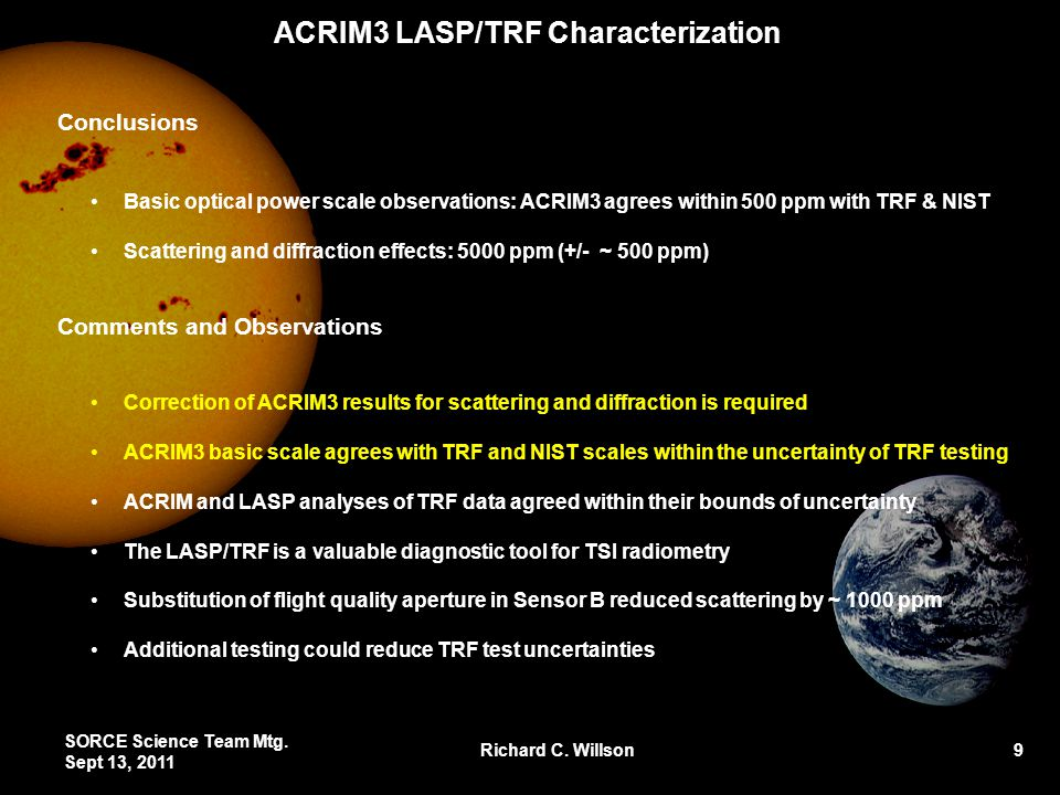ACRIM3 LASP/TRF Characterization Conclusions Basic optical power scale observations: ACRIM3 agrees within 500 ppm with TRF & NIST Scattering and diffr
