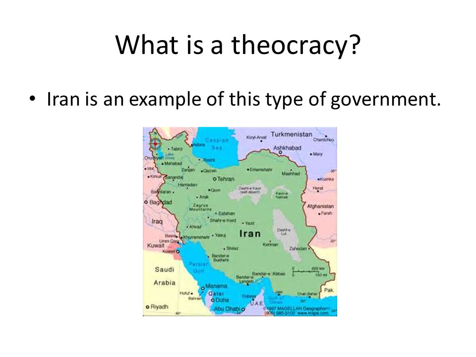 What is a theocracy Iran is an example of this type of government.