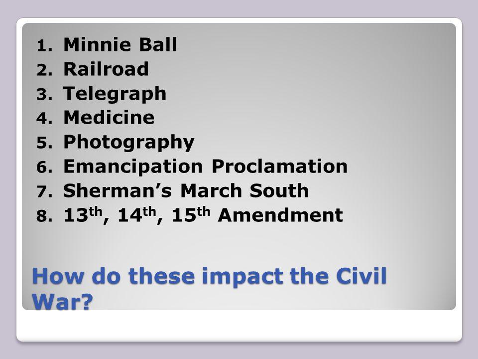 How do these impact the Civil War.1. Minnie Ball 2.