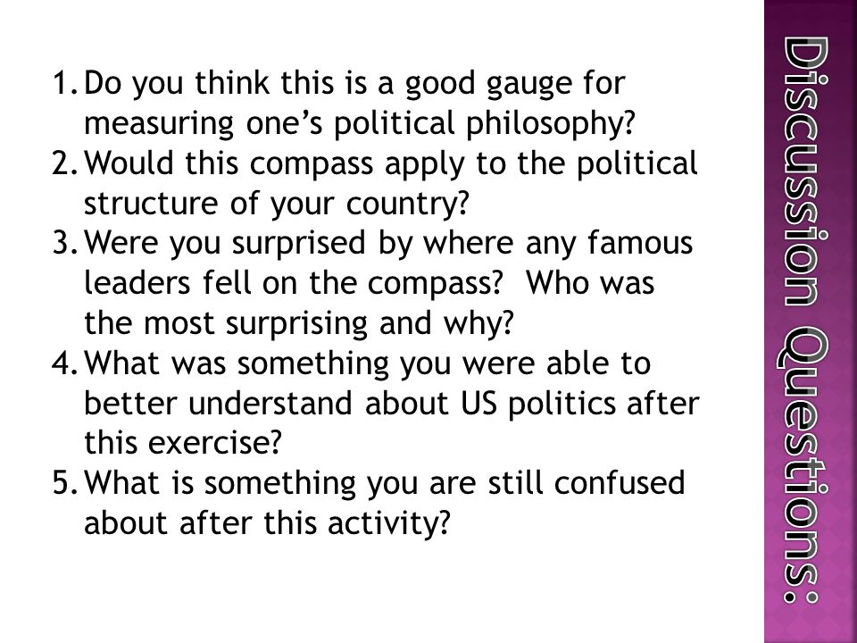 1.Do you think this is a good gauge for measuring one's political philosophy.