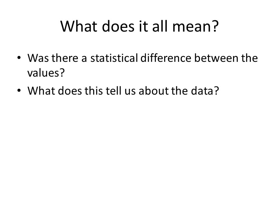 What does it all mean? Was there a statistical difference between the values? What does this tell us about the data?