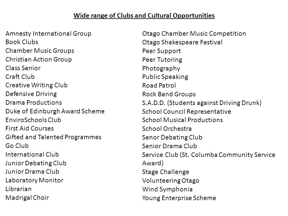Amnesty International Group Book Clubs Chamber Music Groups Christian Action Group Class Senior Craft Club Creative Writing Club Defensive Driving Dra