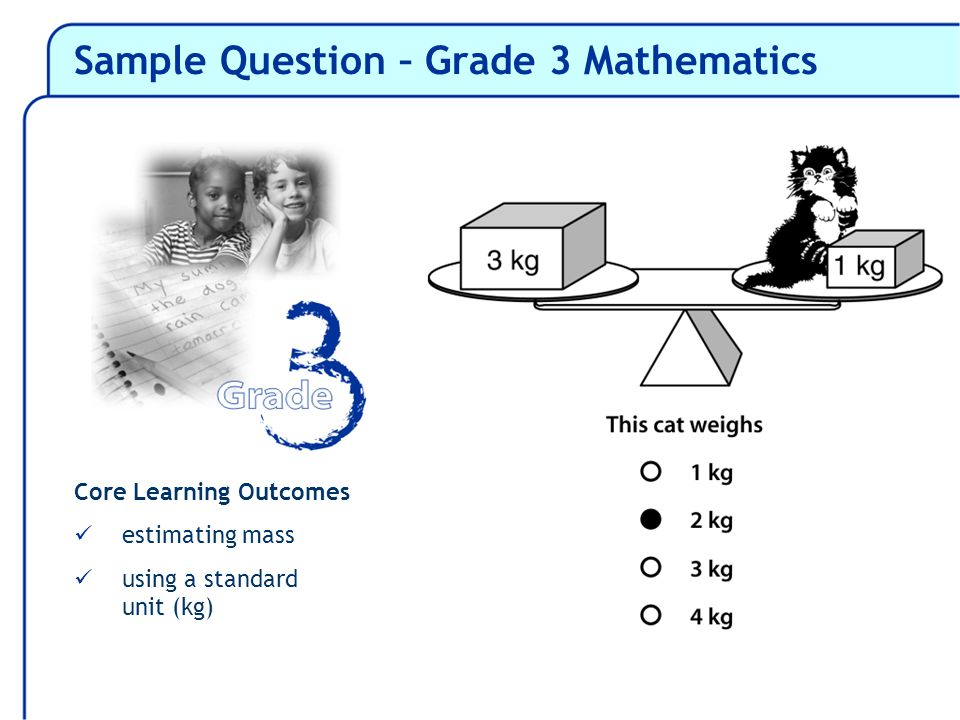 Core Learning Outcomes estimating mass using a standard unit (kg)