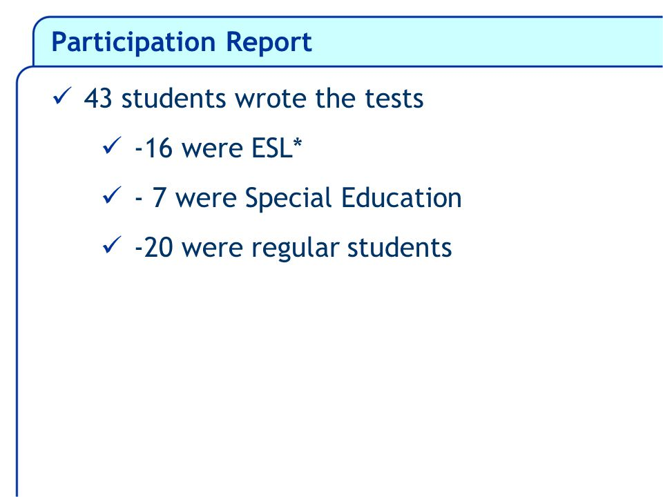 Participation Report 43 students wrote the tests -16 were ESL* - 7 were Special Education -20 were regular students