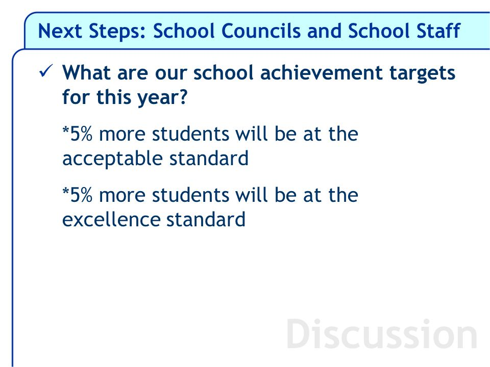 Next Steps: School Councils and School Staff What are our school achievement targets for this year.