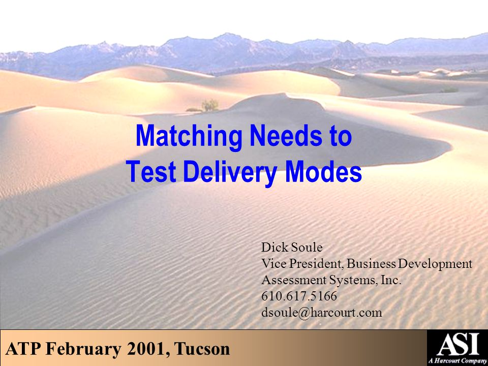 ATP February 2001, Tucson Association of Test Publishers  Issues/Needs  Examinations  Candidates  Locations  Technology  Other  Testing Modes  Matching Needs to Test Delivery Modes © Assessment Systems, Inc., 2001