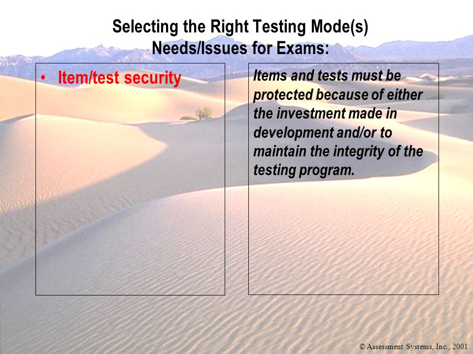 Currency Item/test security When changes in the content are necessary of the exam to accommodate new information.