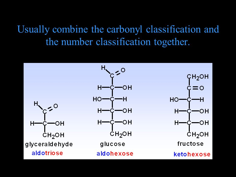 Usually combine the carbonyl classification and the number classification together.