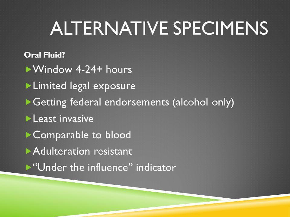 ALTERNATIVE SPECIMENS Oral Fluid.