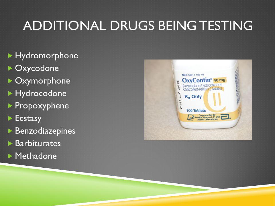 ADDITIONAL DRUGS BEING TESTING  Hydromorphone  Oxycodone  Oxymorphone  Hydrocodone  Propoxyphene  Ecstasy  Benzodiazepines  Barbiturates  Methadone