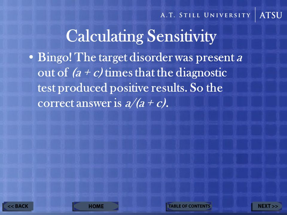 Calculating Sensitivity Bingo.