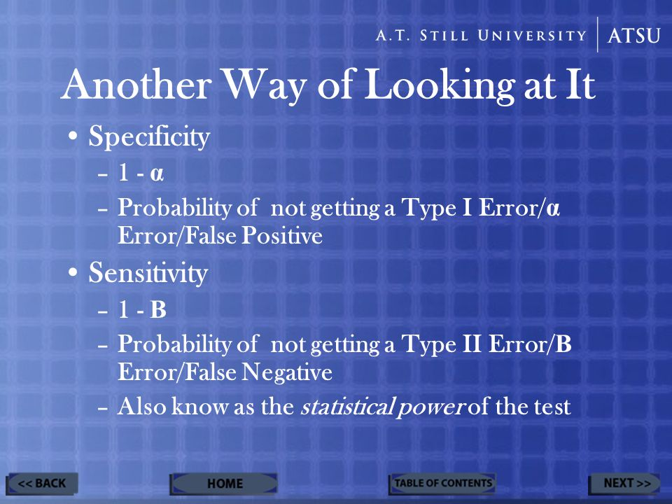 Another Way of Looking at It Specificity –1 - α –Probability of not getting a Type I Error/ α Error/False Positive Sensitivity –1 - Β –Probability of not getting a Type II Error/ Β Error/False Negative –Also know as the statistical power of the test