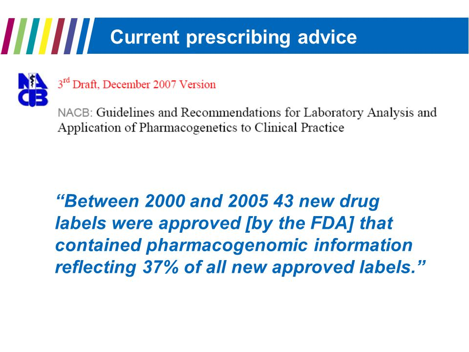 Current prescribing advice Between 2000 and 2005 43 new drug labels were approved [by the FDA] that contained pharmacogenomic information reflecting 37% of all new approved labels.