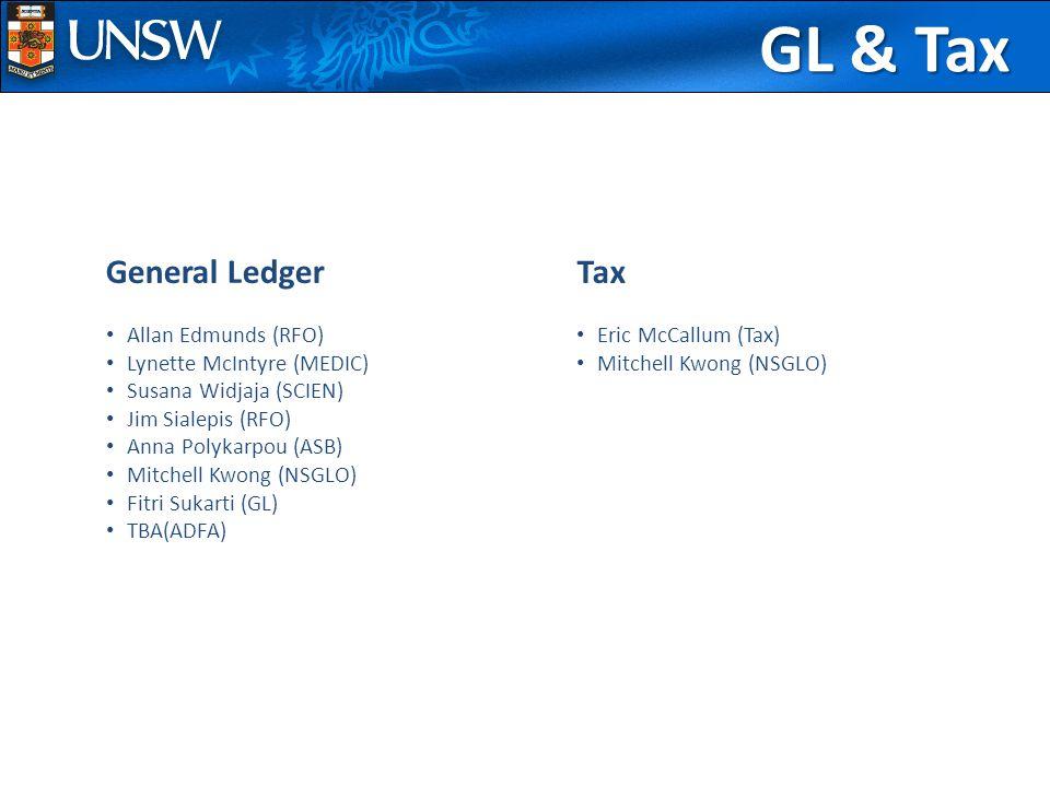 GL & Tax General Ledger Allan Edmunds (RFO) Lynette McIntyre (MEDIC) Susana Widjaja (SCIEN) Jim Sialepis (RFO) Anna Polykarpou (ASB) Mitchell Kwong (NSGLO) Fitri Sukarti (GL) TBA(ADFA) Tax Eric McCallum (Tax) Mitchell Kwong (NSGLO)