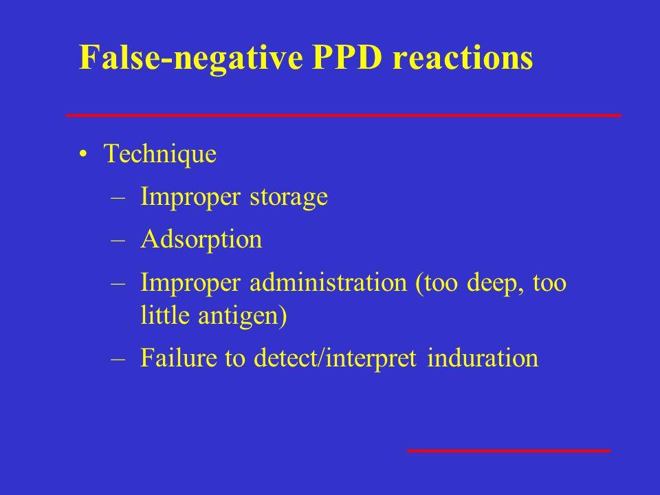 False-negative PPD reactions Technique –Improper storage –Adsorption –Improper administration (too deep, too little antigen) –Failure to detect/interp