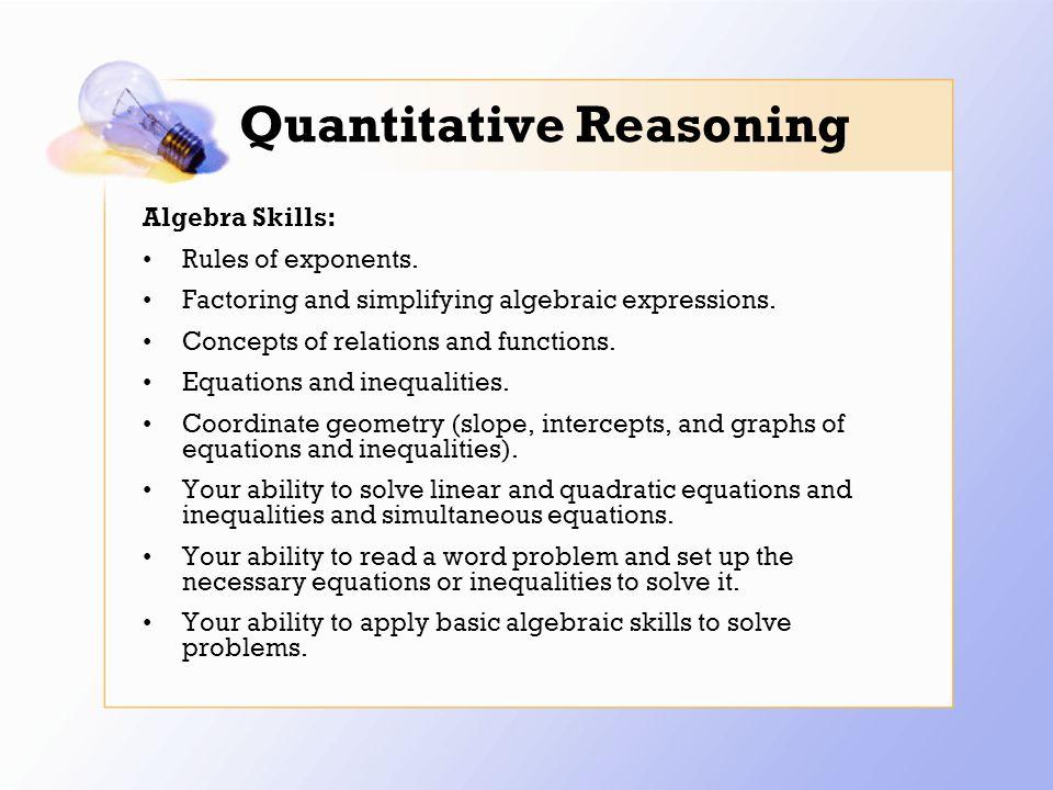 Quantitative Reasoning Algebra Skills: Rules of exponents.