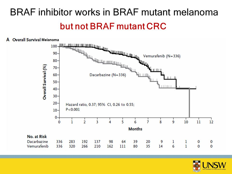 BRAF inhibitor works in BRAF mutant melanoma Melanoma but not BRAF mutant CRC