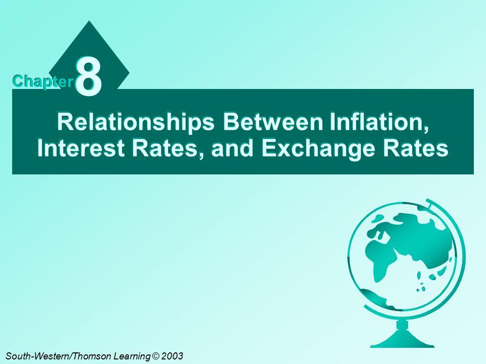 Relationships Between Inflation, Interest Rates, and Exchange Rates 8 8 Chapter South-Western/Thomson Learning © 2003