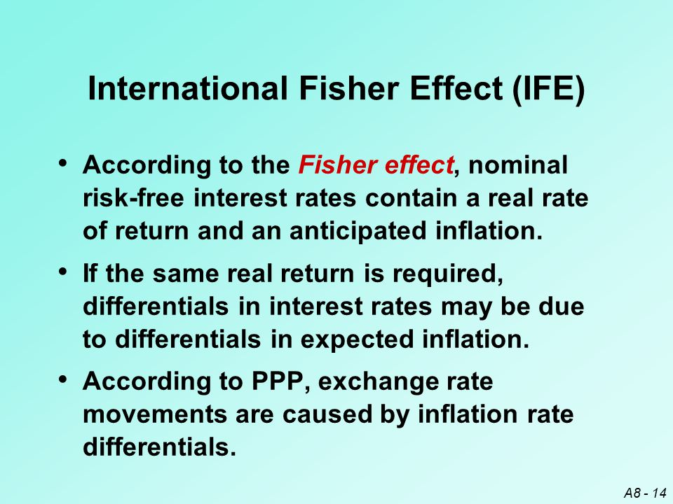 A8 - 14 International Fisher Effect (IFE) According to the Fisher effect, nominal risk-free interest rates contain a real rate of return and an antici