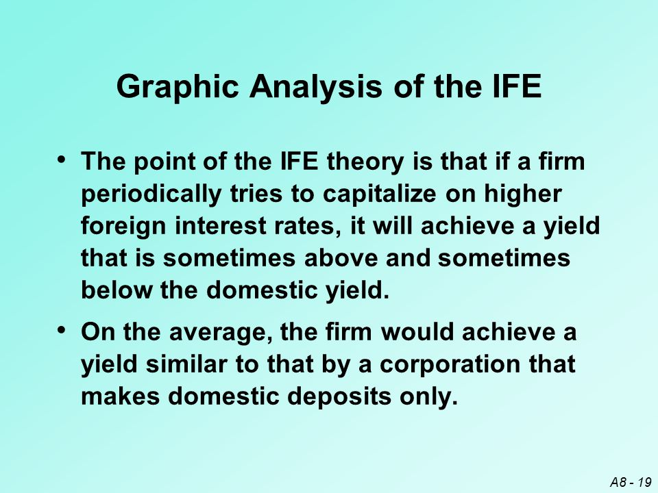 A8 - 19 Graphic Analysis of the IFE The point of the IFE theory is that if a firm periodically tries to capitalize on higher foreign interest rates, i