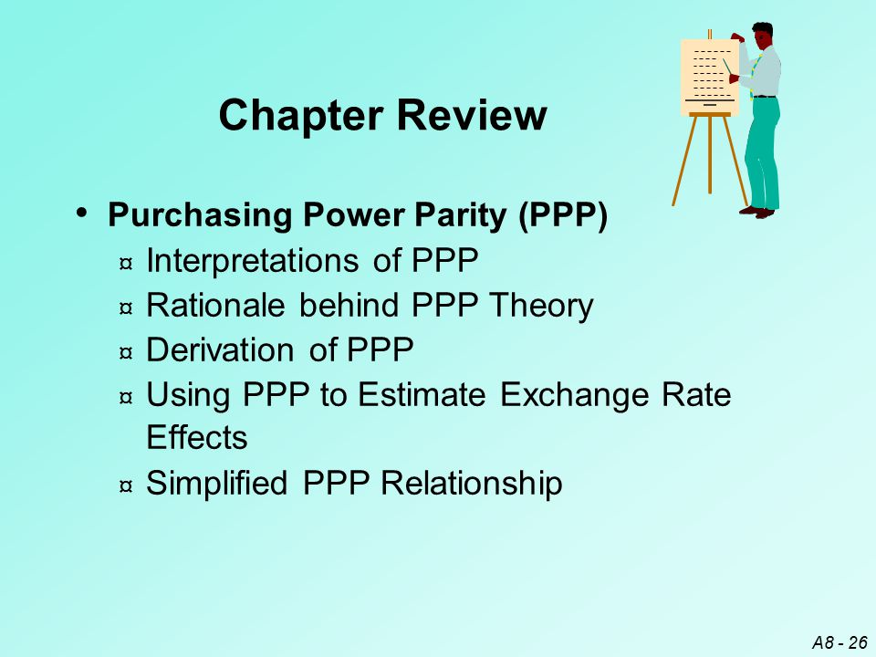 A8 - 26 Purchasing Power Parity (PPP) ¤ Interpretations of PPP ¤ Rationale behind PPP Theory ¤ Derivation of PPP ¤ Using PPP to Estimate Exchange Rate