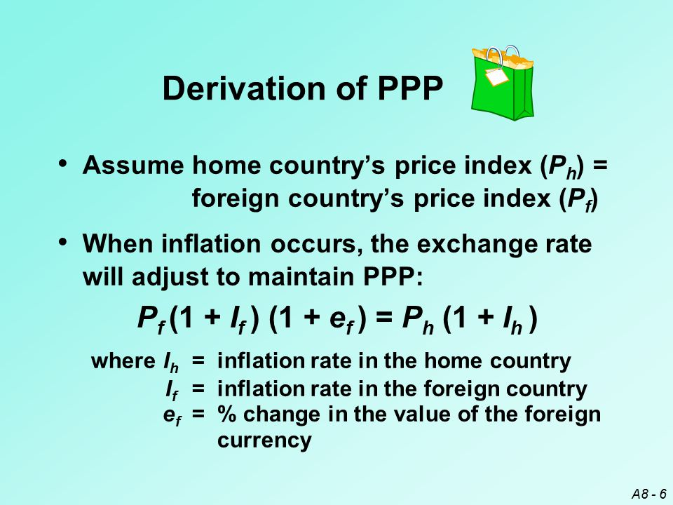 A8 - 7 Since P h = P f, solving for e f gives: e f = (1 + I h ) – 1 (1 + I f )  If I h > I f, e f > 0 (foreign currency appreciates) If I h < I f, e f < 0 (foreign currency depreciates) If I h = 5% & I f = 3%, e f = 1.05/1.03 – 1 = 1.94%  From the home country perspective, both price indexes rise by 5%.