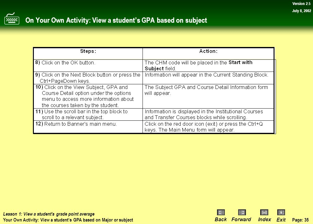 Page: 34 BackForwardIndex Exit Version 2.5 July 8, 2002 On Your Own Activity: View a student's GPA based on subject Lesson 1: View a student's grade p