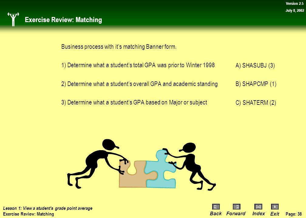 Page: 37 BackForwardIndex Exit Version 2.5 July 8, 2002 Exercise: Matching Lesson 1: View a student's grade point average Exercise: Matching Match the