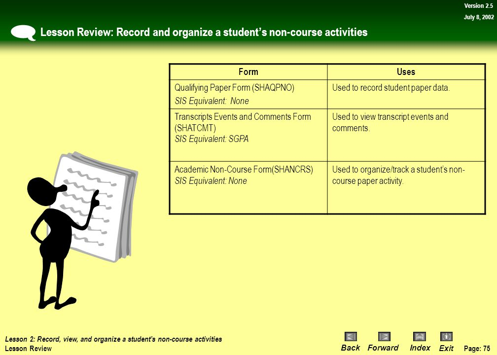 Page: 74 BackForwardIndex Exit Version 2.5 July 8, 2002 Exercise Review: Fill in the blank Lesson 2: Record, view, and organize a student's non-course