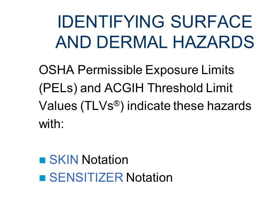 DEFINING SURFACE AND DERMAL HAZARDS PROPERTIES: Can penetrate or injure the skin Toxic if ingested Inhalation hazard if resuspended Low vapor pressure