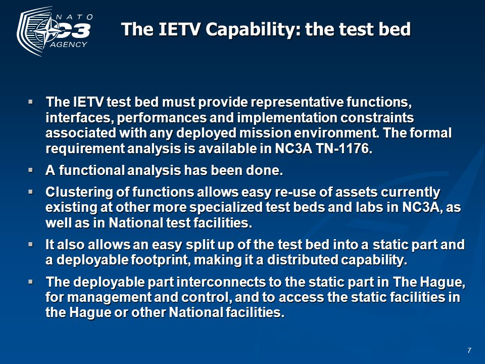 8 The IETV Capability: the test bed NC3A TN-1176