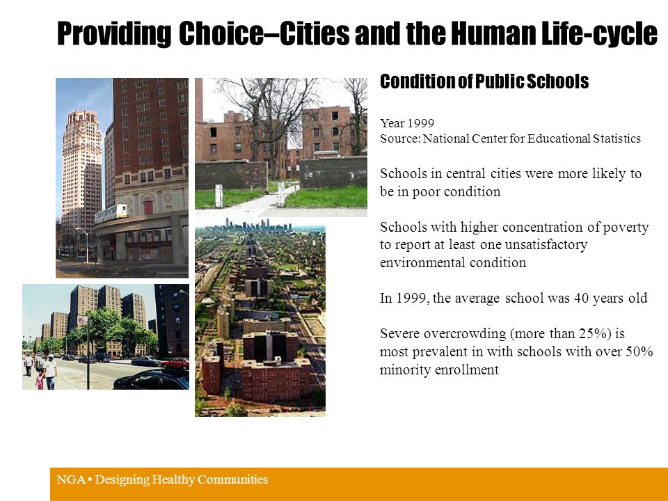 NGA Designing Healthy Communities Providing Choice–Cities and the Human Life-cycle Condition of Public Schools Year 1999 Source: National Center for Educational Statistics Schools in central cities were more likely to be in poor condition Schools with higher concentration of poverty to report at least one unsatisfactory environmental condition In 1999, the average school was 40 years old Severe overcrowding (more than 25%) is most prevalent in with schools with over 50% minority enrollment