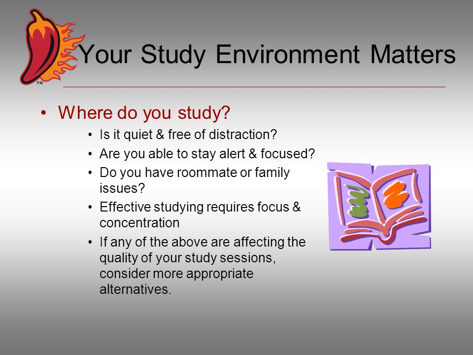 Your Study Environment Matters Where do you study? Is it quiet & free of distraction? Are you able to stay alert & focused? Do you have roommate or fa