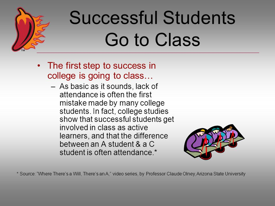 Successful Students Go to Class The first step to success in college is going to class… –As basic as it sounds, lack of attendance is often the first