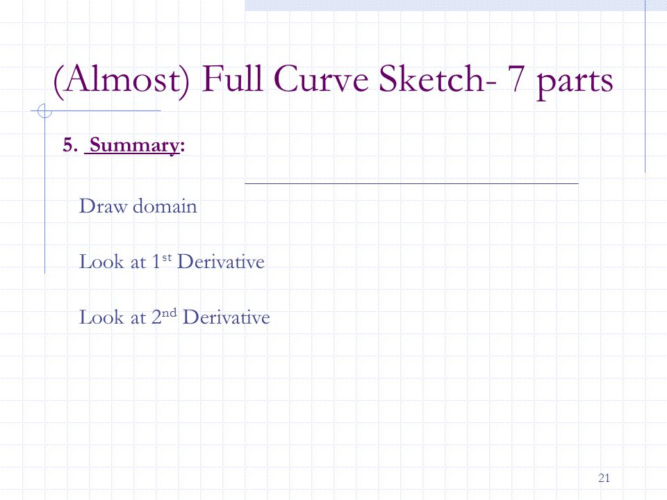 21 5. Summary: Draw domain Look at 1 st Derivative Look at 2 nd Derivative (Almost) Full Curve Sketch- 7 parts