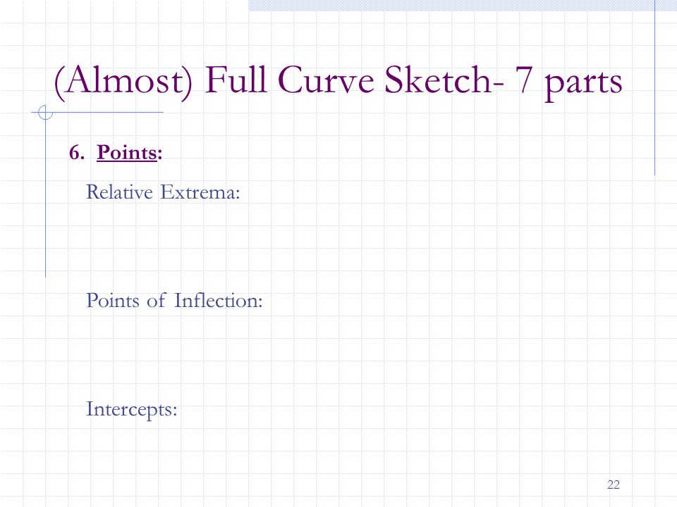 22 6. Points: Relative Extrema: Points of Inflection: Intercepts: (Almost) Full Curve Sketch- 7 parts
