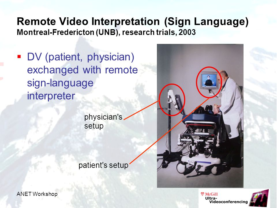 ANET Workshop Remote Video Interpretation (Sign Language) Montreal-Fredericton (UNB), research trials, 2003  DV (patient, physician) exchanged with remote sign-language interpreter physician s setup patient s setup