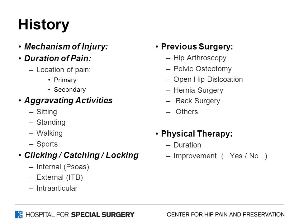 History Mechanism of Injury: Duration of Pain: –Location of pain: Primary Secondary Aggravating Activities –Sitting –Standing –Walking –Sports Clicking / Catching / Locking –Internal (Psoas) –External (ITB) –Intraarticular Previous Surgery: –Hip Arthroscopy –Pelvic Osteotomy –Open Hip Dislcoation –Hernia Surgery – Back Surgery – Others Physical Therapy: –Duration –Improvement ( Yes / No )