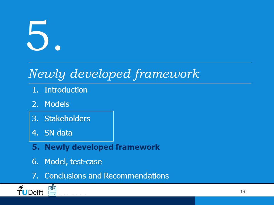19 5. Newly developed framework 1.Introduction 2.Models 3.Stakeholders 4.SN data 5.Newly developed framework 6.Model, test-case 7.Conclusions and Reco