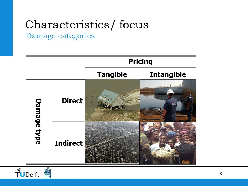 8 Characteristics/ focus Damage categories Pricing TangibleIntangible Damage type Direct Indirect