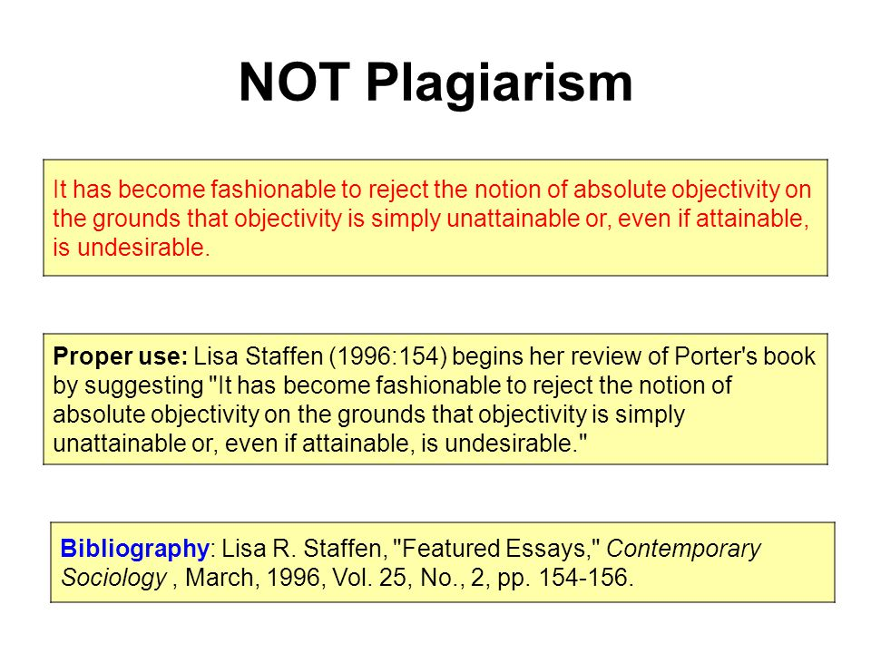 NOT Plagiarism It has become fashionable to reject the notion of absolute objectivity on the grounds that objectivity is simply unattainable or, even if attainable, is undesirable.