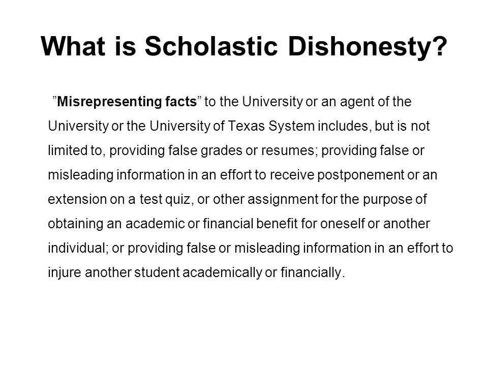 Why is Scholastic Dishonesty such a Concern.First, it is lying.