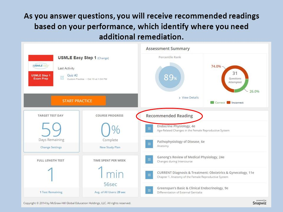 As you answer questions, you will receive recommended readings based on your performance, which identify where you need additional remediation.